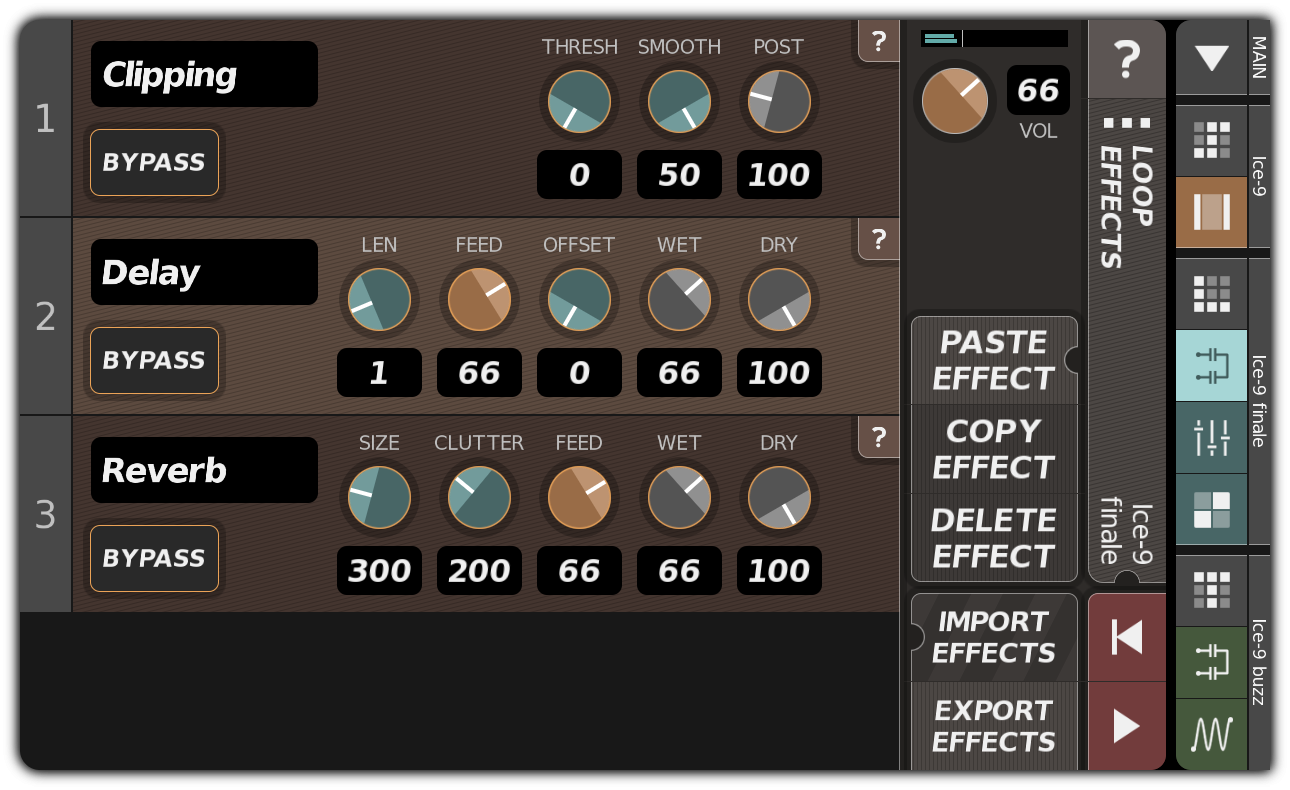 LOOP EFFECTS dialog