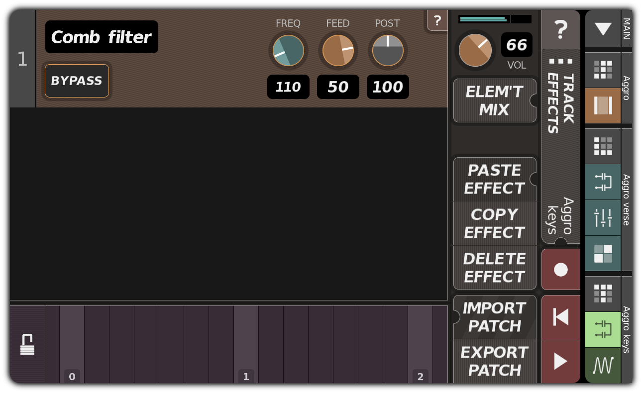 TRACK EFFECTS dialog with comb filter
