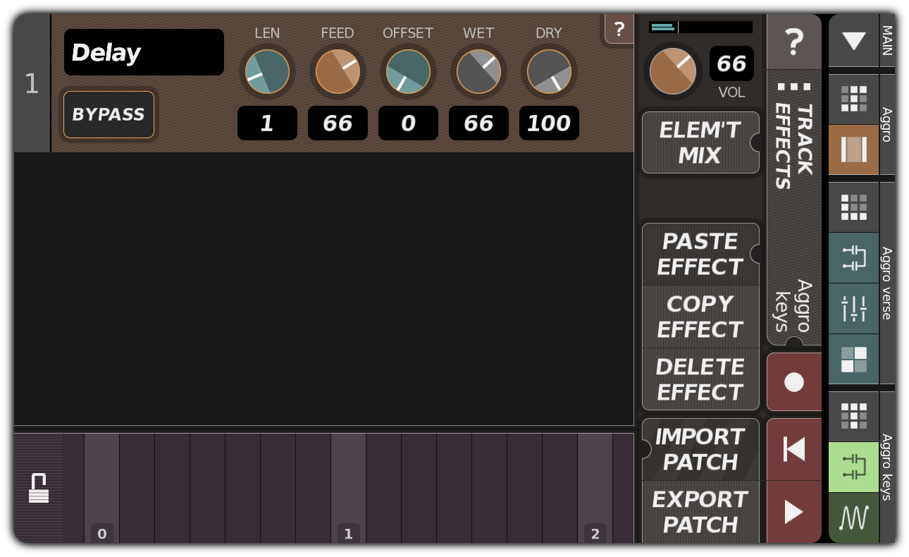TRACK EFFECTS dialog with delay