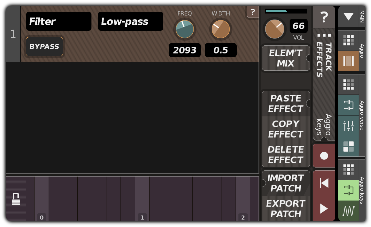 TRACK EFFECTS dialog with filter