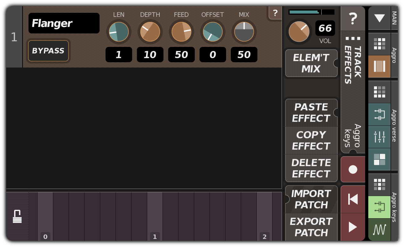 TRACK EFFECTS dialog with flanger
