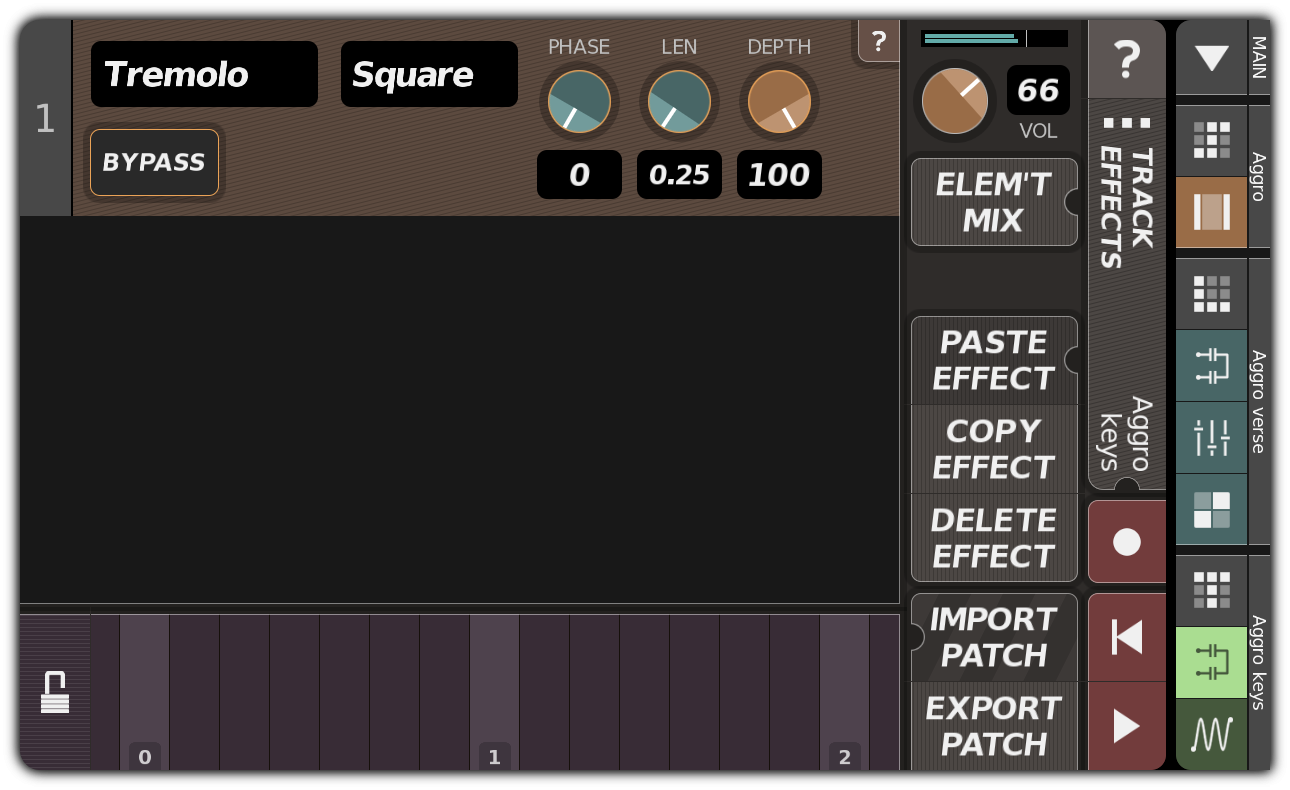 TRACK EFFECTS dialog with tremolo