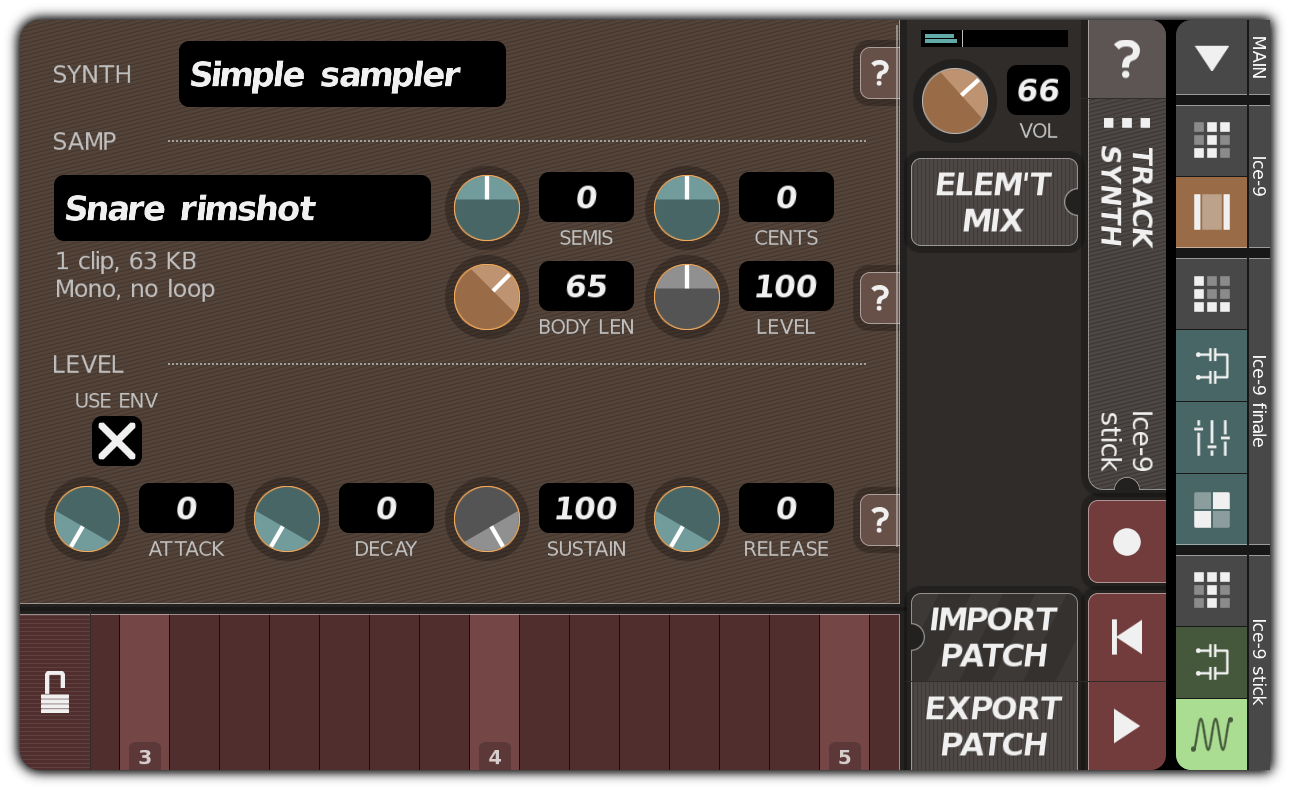 TRACK SYNTH dialog with simple sampler