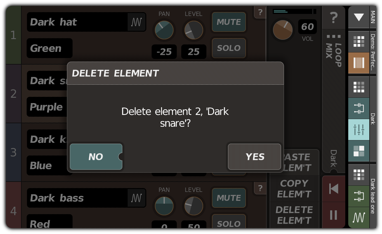 Deleting a loop element