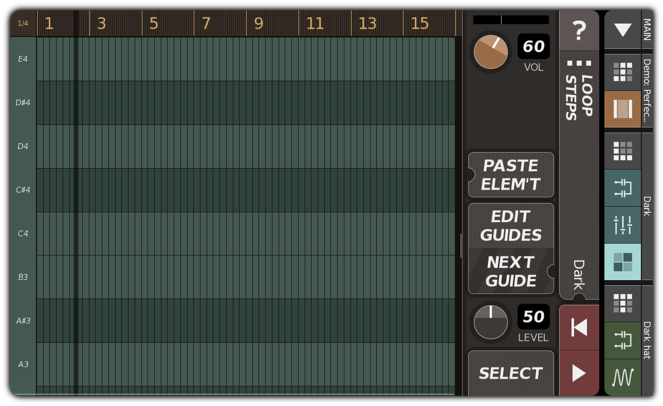 Empty synth pattern with expanded vertical range