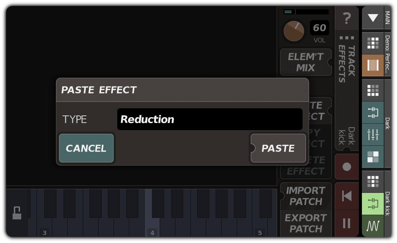 Adding an effect with the PASTE EFFECT dialog