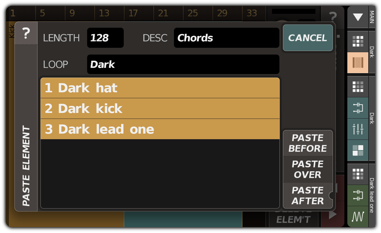 Creating a song element with kick, hi-hat, and chords
