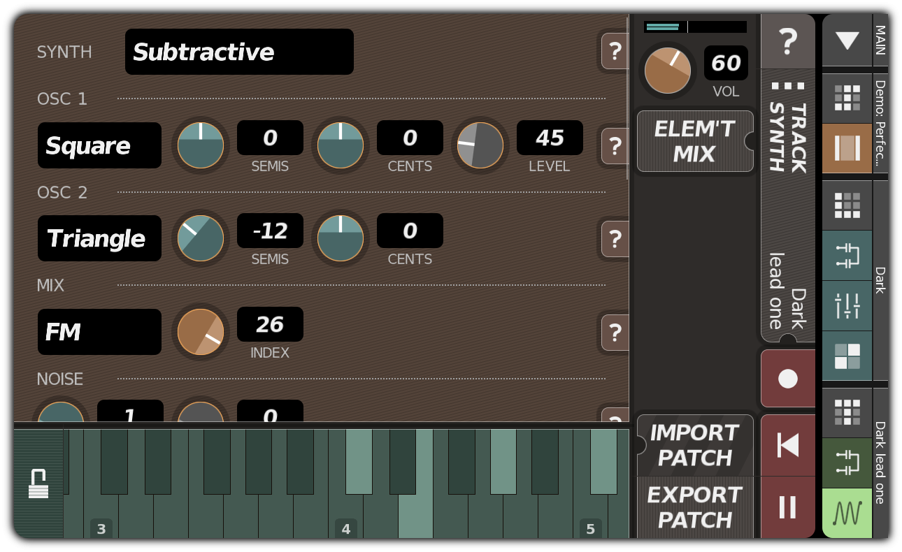 TRACK SYNTH dialog with subtractive synthesis