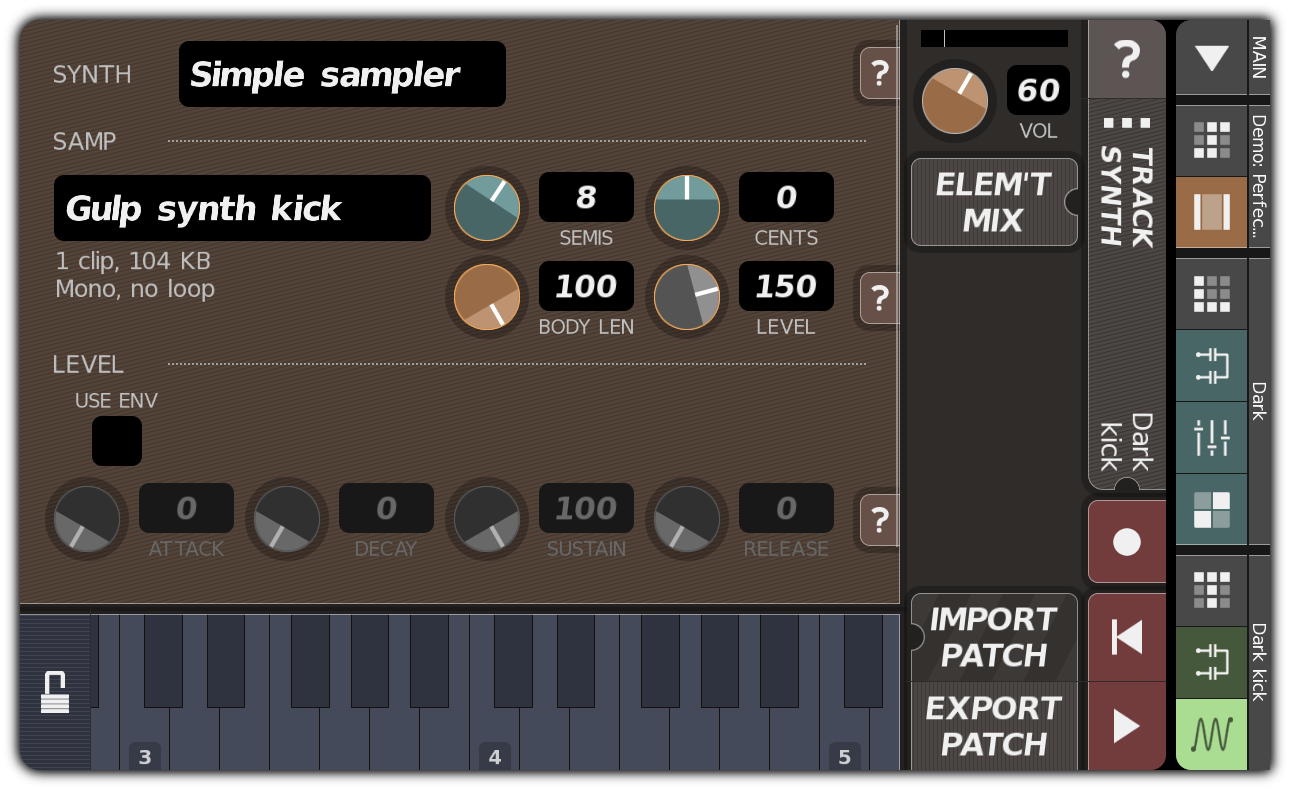 TRACK SYNTH dialog showing 'Dark kick'